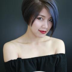 冷棕色短髮+灰藍色設計染