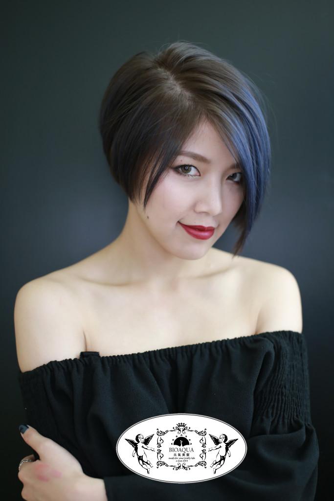 台中染髮推薦 台中髮廊元氣美髮 冷棕色短髮+灰藍色設計染
