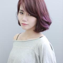 櫻花粉咖啡色&紫色挑染+BOB髮