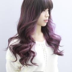 霧感咖啡色+粉紫色挑染