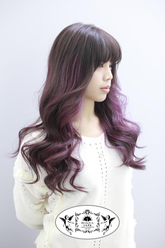 霧感咖啡色+粉紫色挑染 台中染髮推薦