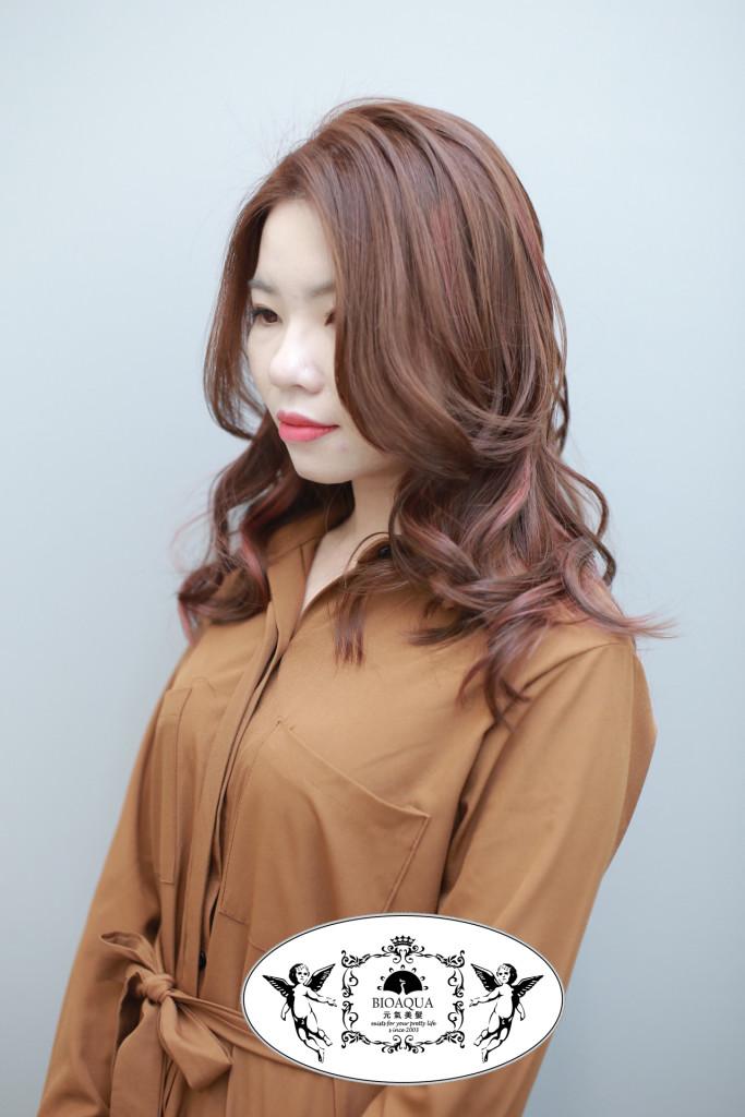 粉棕色+線條挑染 台中染髮推薦 - 台中髮廊 元氣美髮