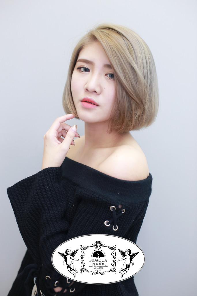 粉霧奶茶髮色+BOB頭 - 台中染髮推薦 西區髮廊 bioaqua元氣美髮