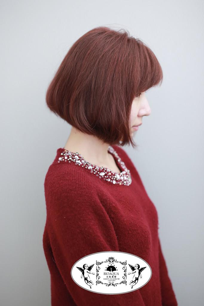 暖棕色調BOB頭 鮑伯頭 台中染髮推薦 - 台中髮廊 bioaqua元氣美髮