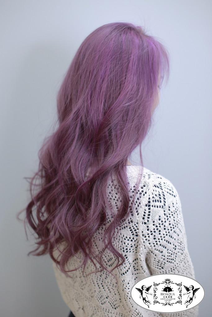 灰霧紫色調設計染 台中染髮推薦 - 台中髮廊 bioaqua元氣美髮