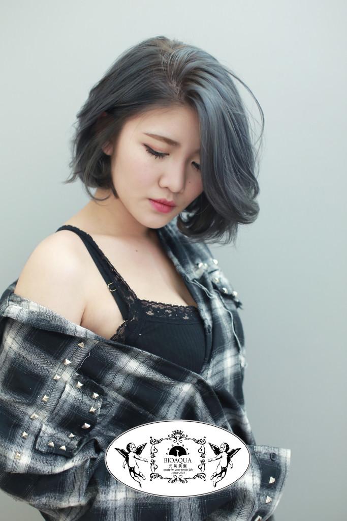 深藍灰髮色+BOB頭 台中染髮推薦 - 台中西區髮廊 元氣美髮