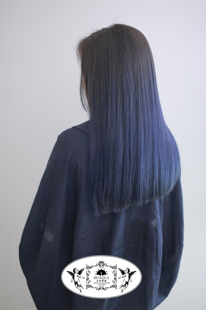深藍色漸層染 台中染髮推薦 - 台中髮廊 bioaqua元氣美髮