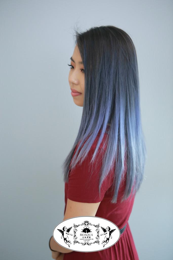 歐美染髮~藍灰色手刷漸層染 台中染髮推薦 - 台中髮廊 元氣美髮