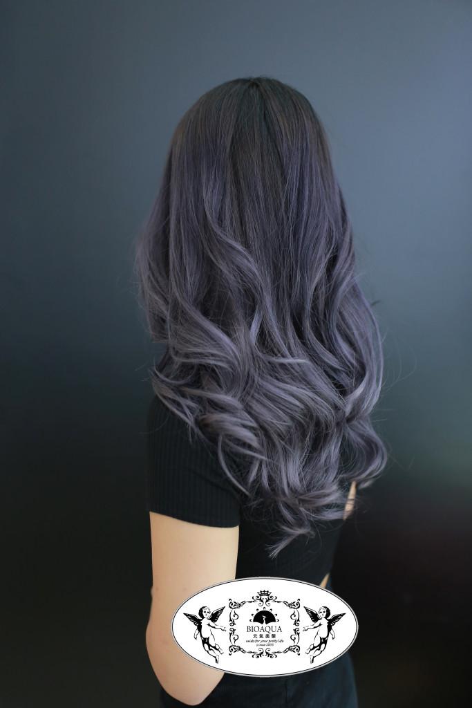 煙灰紫色手刷漸層染 霧感髮色 台中染髮推薦 - 台中髮廊 元氣美髮
