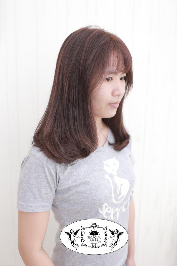 粉紅棕色+內彎LOB 台中燙髮染髮推薦 - 台中髮廊 元氣美髮