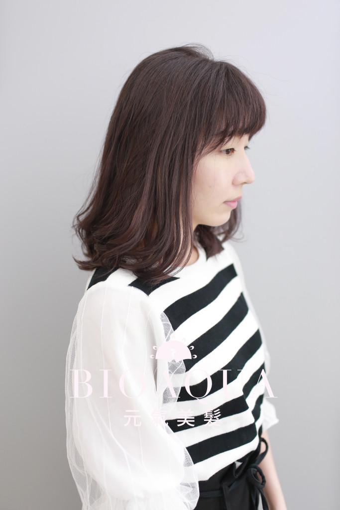 LOB髮尾捲+霧感灰紫咖啡色 - 台中髮廊 燙髮推薦 元氣美髮