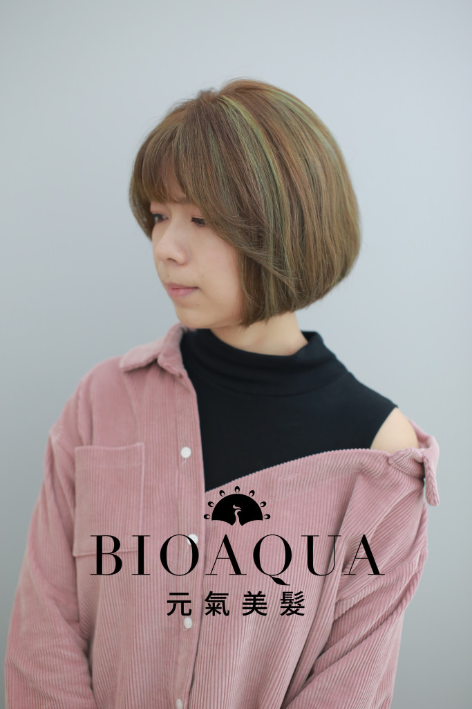 霧棕色+灰綠色挑染 鮑伯頭 台中染髮推薦 - 台中髮廊 元氣美髮