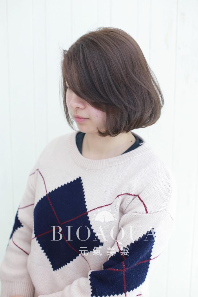粉霧紫灰棕色+BOB內彎捲 - 台中髮廊 bioaqua元氣美髮
