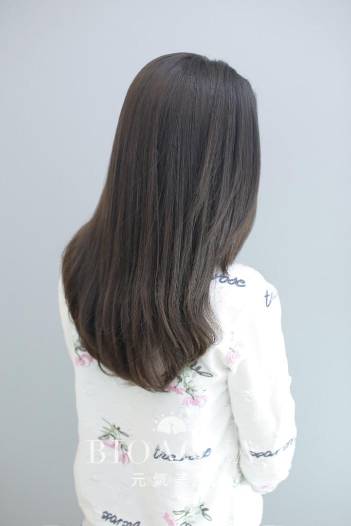 深灰棕色+水質感直髮燙 髮尾內彎 - 台中髮廊 bioaqua元氣美髮