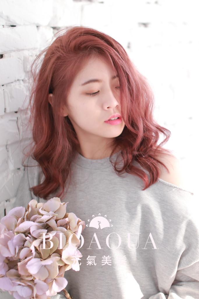 粉紅咖啡色+水潤Q彈捲 by 資生堂水質感 - 台中燙髮推薦 元氣美髮