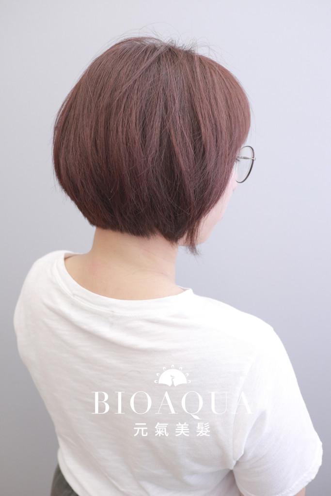 BOB頭+粉紅咖啡色 - 台中髮廊 剪髮染髮推薦 元氣美髮