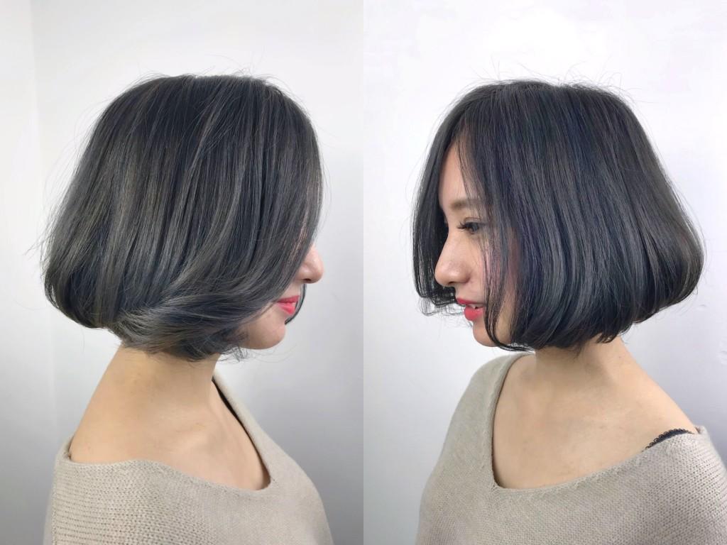 深藍灰色BOB頭 4大IG人氣髮色 從日韓夯到國內!蜜蜂推薦 - 台中髮廊 元氣美髮