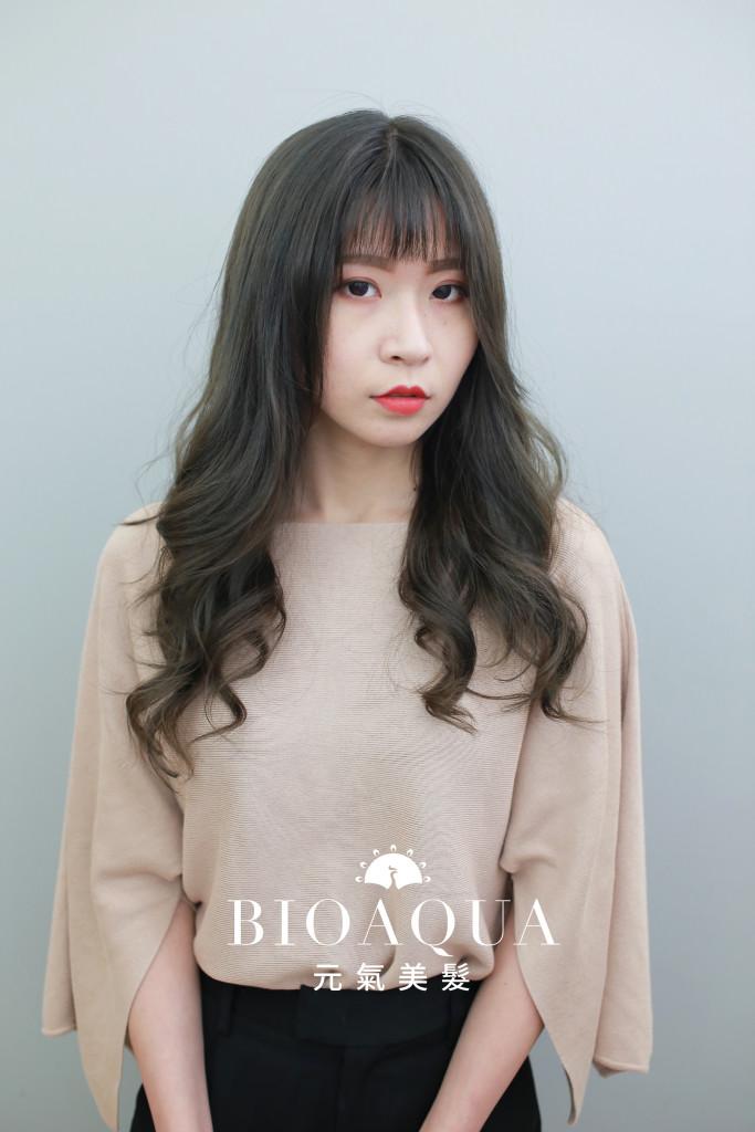 霧感灰綠棕色+水潤Q彈捲 - 台中髮廊 燙染髮推薦 元氣美髮