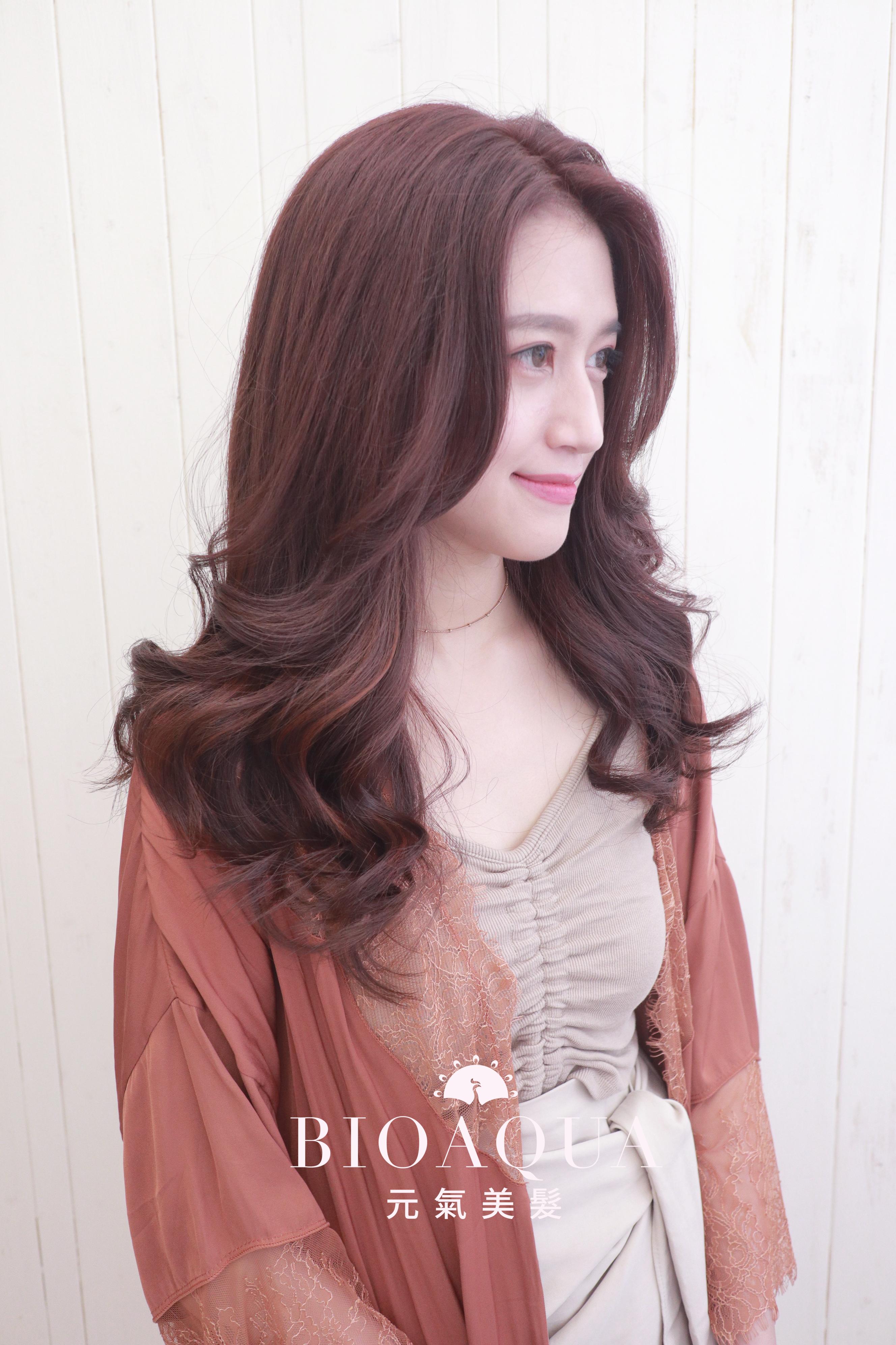 優雅柔美氣質 粉紅咖啡髮色+線條挑染