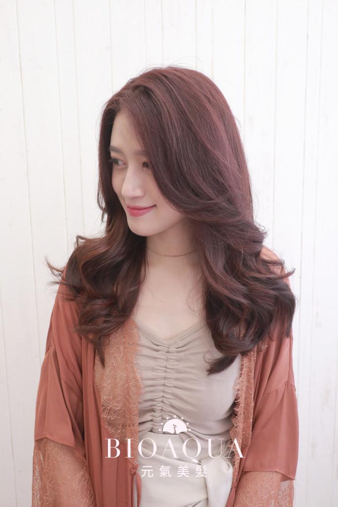 優雅柔美氣質 粉紅咖啡髮色+線條挑染 - 台中髮廊 染髮推薦 元氣美髮