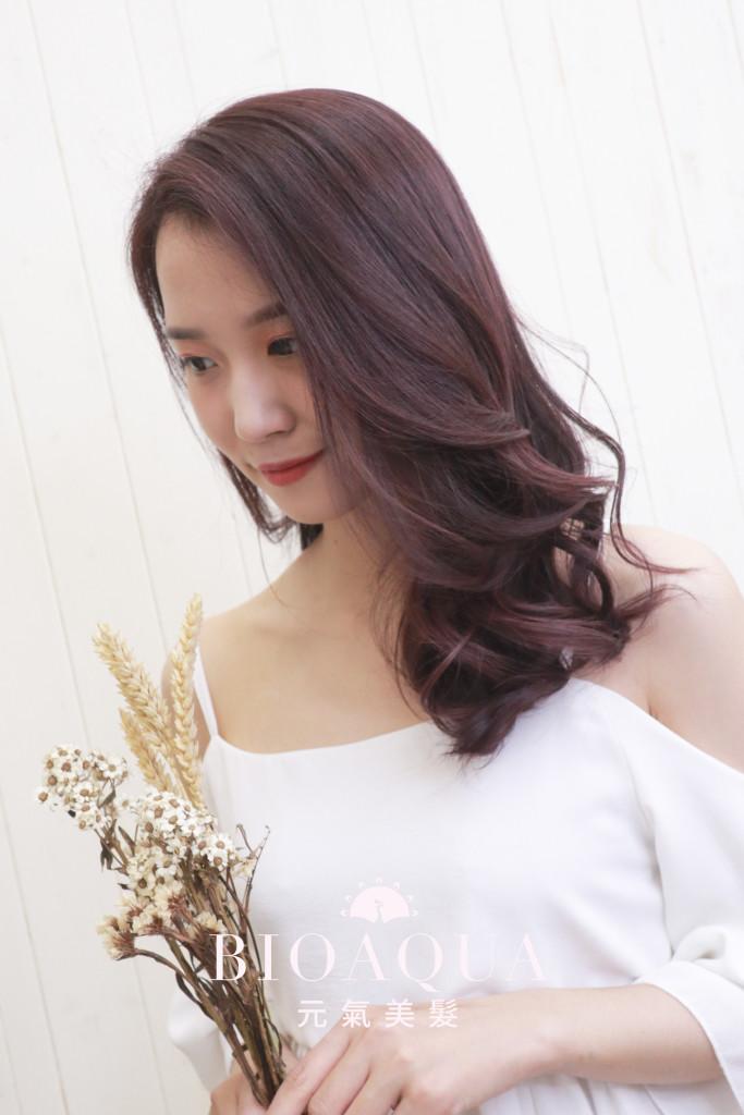 粉紫紅咖啡色 - 台中西區髮廊 染髮推薦 bioaqua元氣美髮