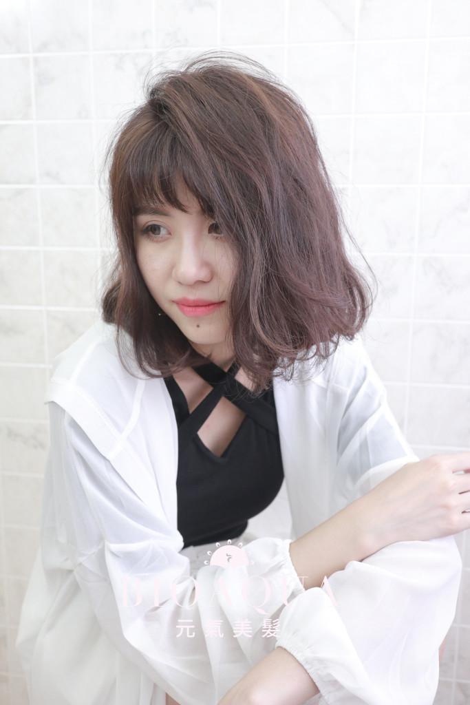 粉紫霧棕色+焦糖色挑染 - 台中髮廊 剪髮染髮推薦 元氣美髮