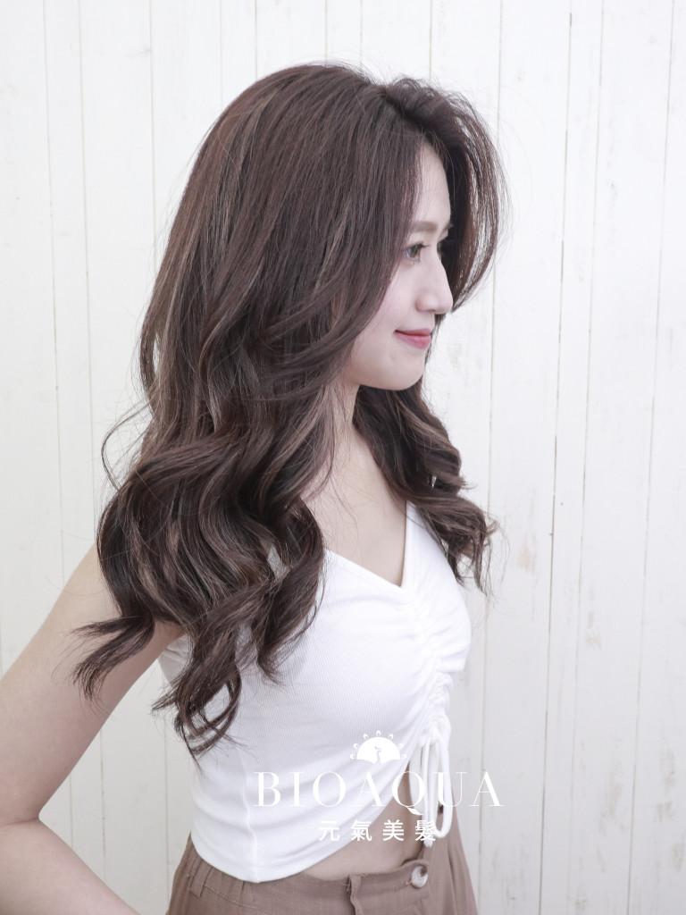紫霧巧克力色+歐美手刷線條挑染 - 台中髮廊 剪髮染髮推薦 元氣美髮