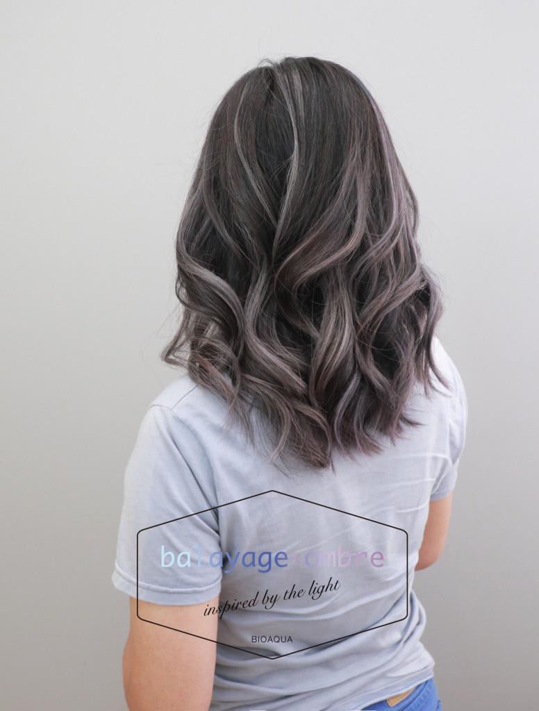 灰色調歐美手刷線條染髮 - 台中髮廊 剪髮染髮推薦 元氣美髮