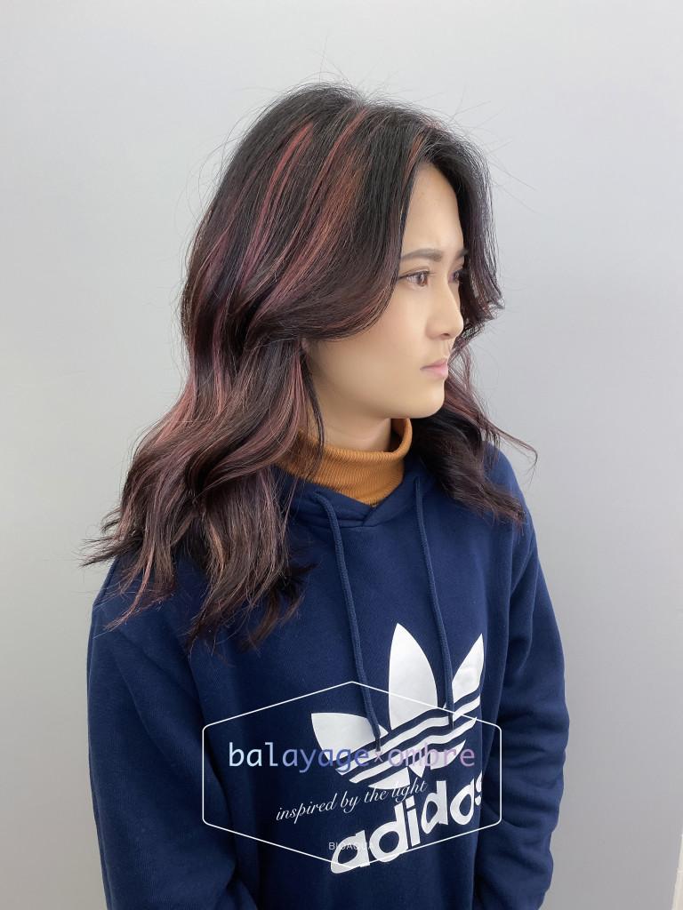 粉紅色調手刷線條染 - 台中髮廊 歐美手刷染髮推薦 元氣美髮