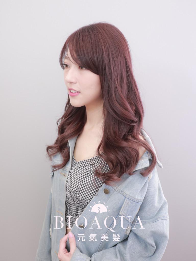 紫紅棕色 - 台中髮廊 剪髮染髮推薦 元氣美髮