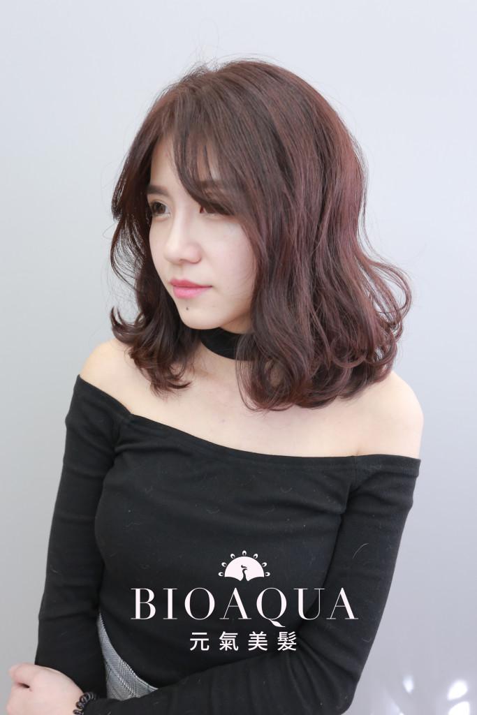 紫紅棕色LOB - 台中髮廊 剪髮染髮推薦 bioaqua元氣美髮