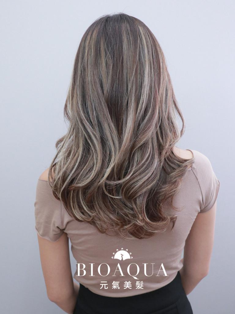 淺棕色+奶茶灰色 歐美手刷線條染髮 - 台中髮廊 歐美挑染推薦 元氣美髮