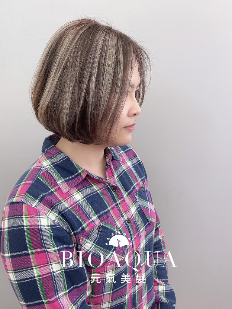 奶茶灰色手刷線條染+鮑伯頭 - 台中髮廊 歐美手刷染髮推薦 元氣美髮