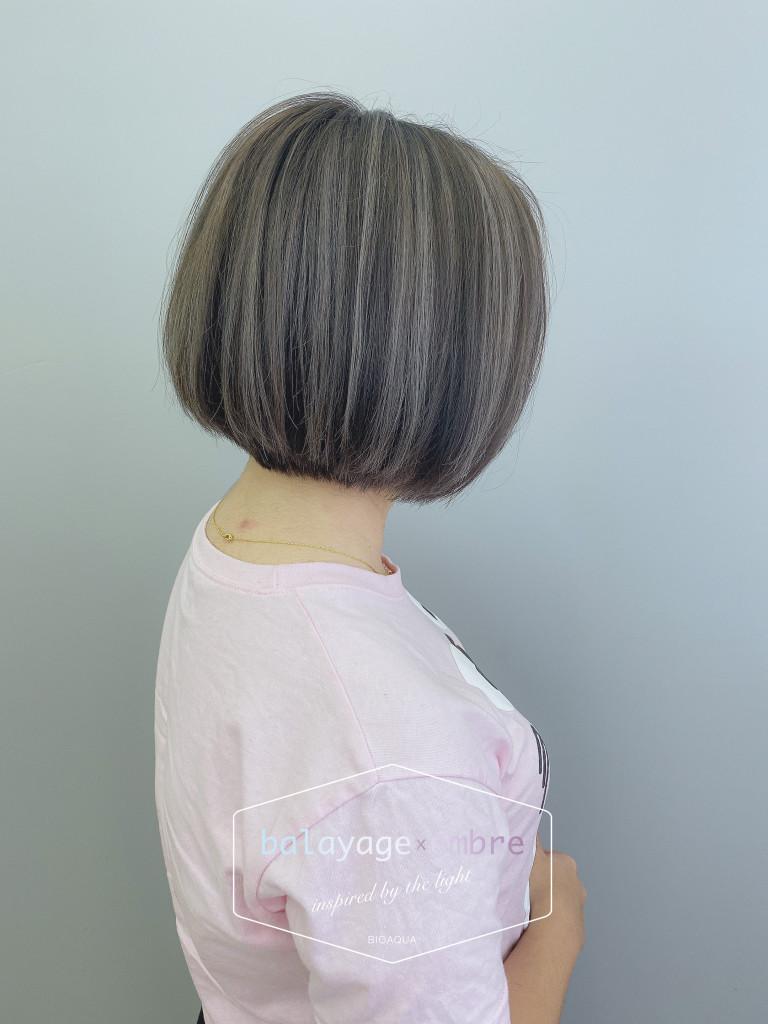 深灰棕色Bob頭+灰色手刷線條染 - 台中髮廊 染髮推薦 元氣美髮