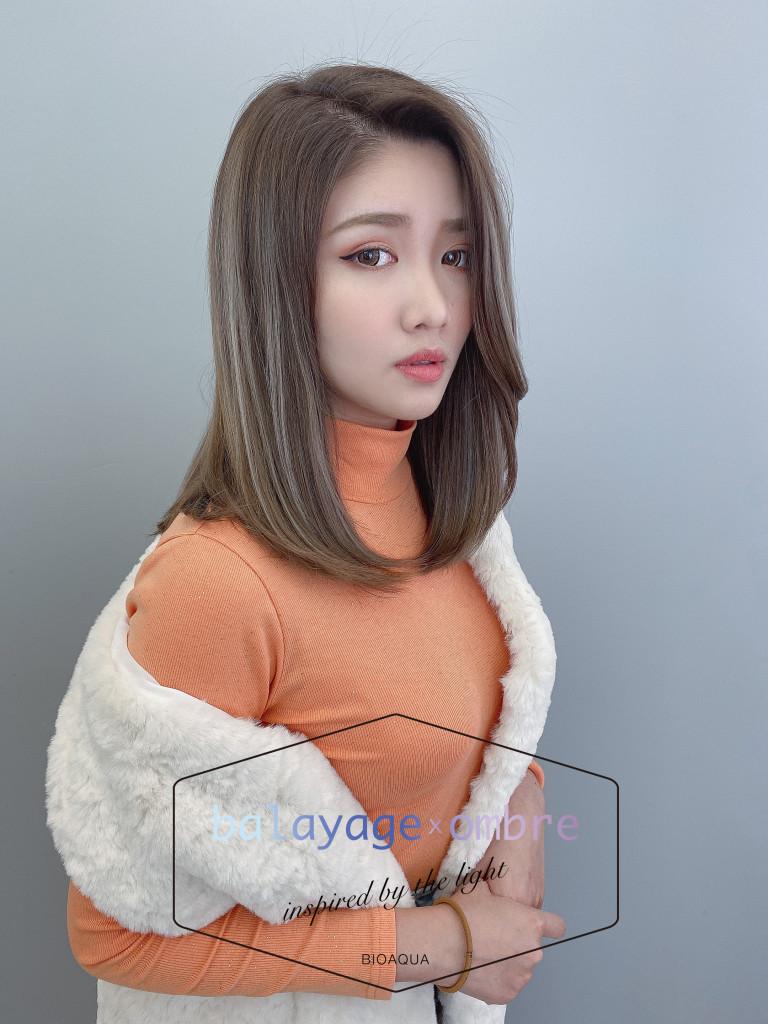 灰棕色+乳灰色手刷線條染 - 台中髮廊 歐美手刷染髮推薦 元氣美髮