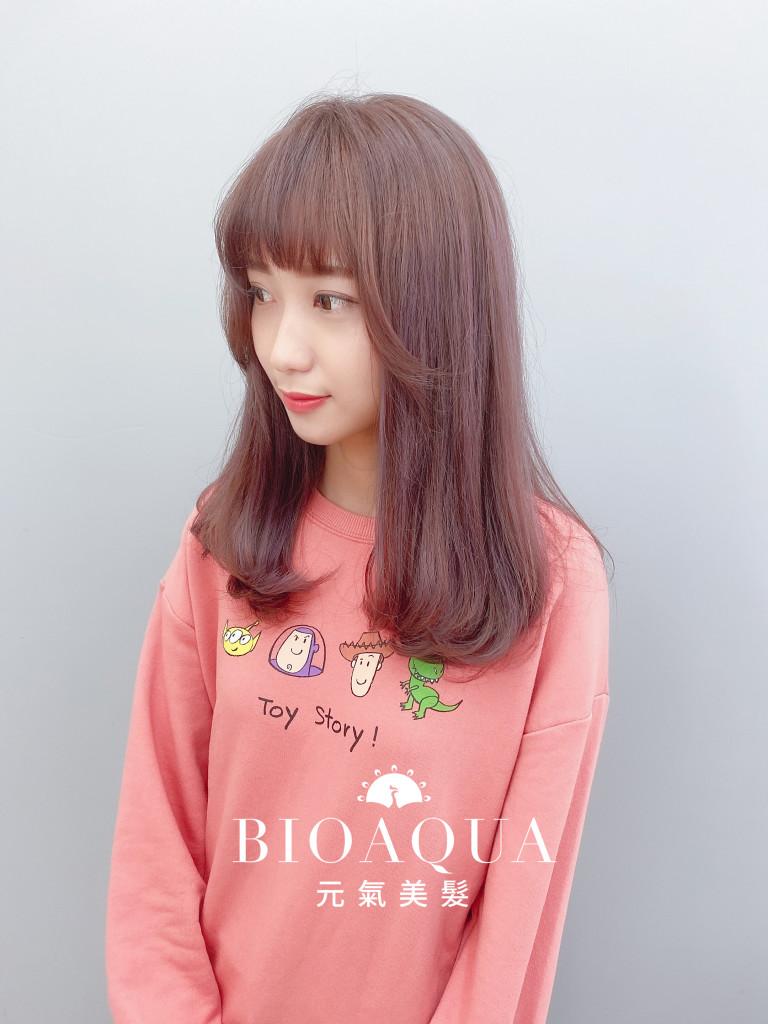 粉紫&奶茶髮色設計染 - 台中髮廊 剪髮染髮推薦元氣美髮
