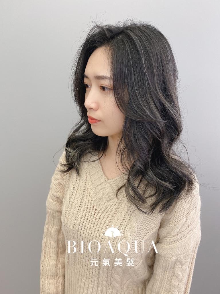 奶茶灰色 歐美手刷線條染 - 台中髮廊 染髮挑染推薦 元氣美髮