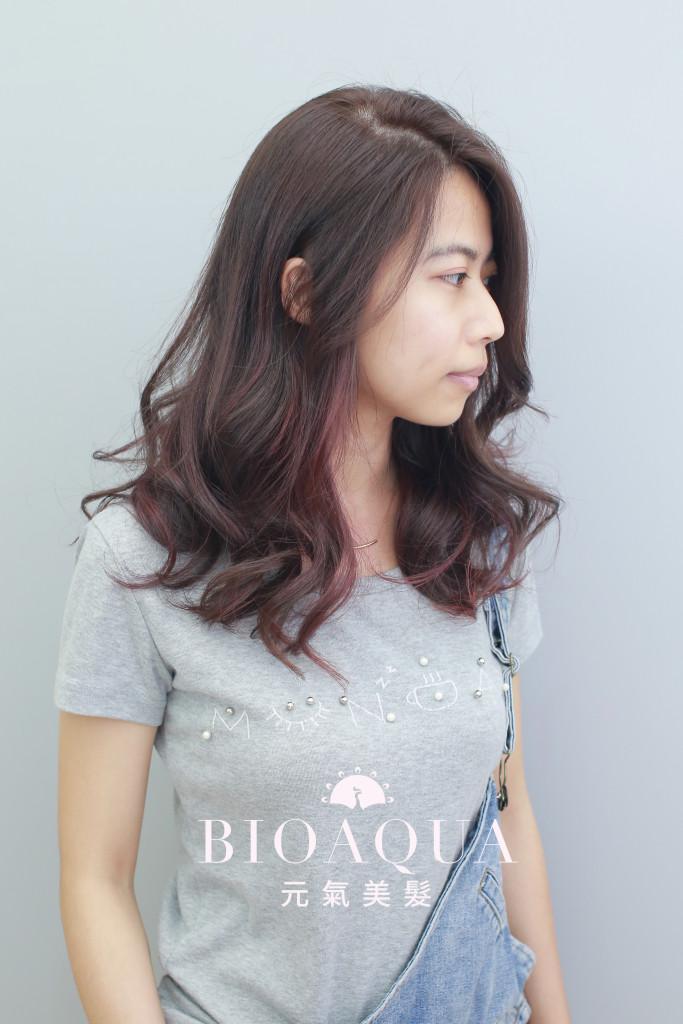 焦糖色調&紫紅色設計染 - 台中髮廊 染髮挑染推薦 元氣美髮