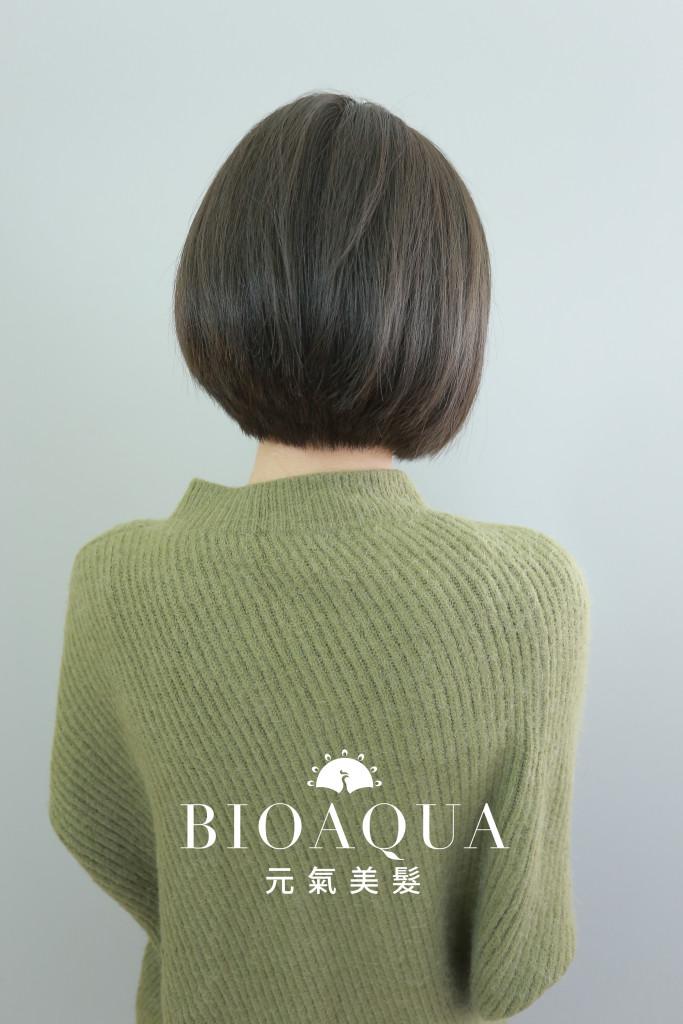 霧感灰綠棕色BOB頭 - 台中髮廊 剪髮染髮推薦 元氣美髮