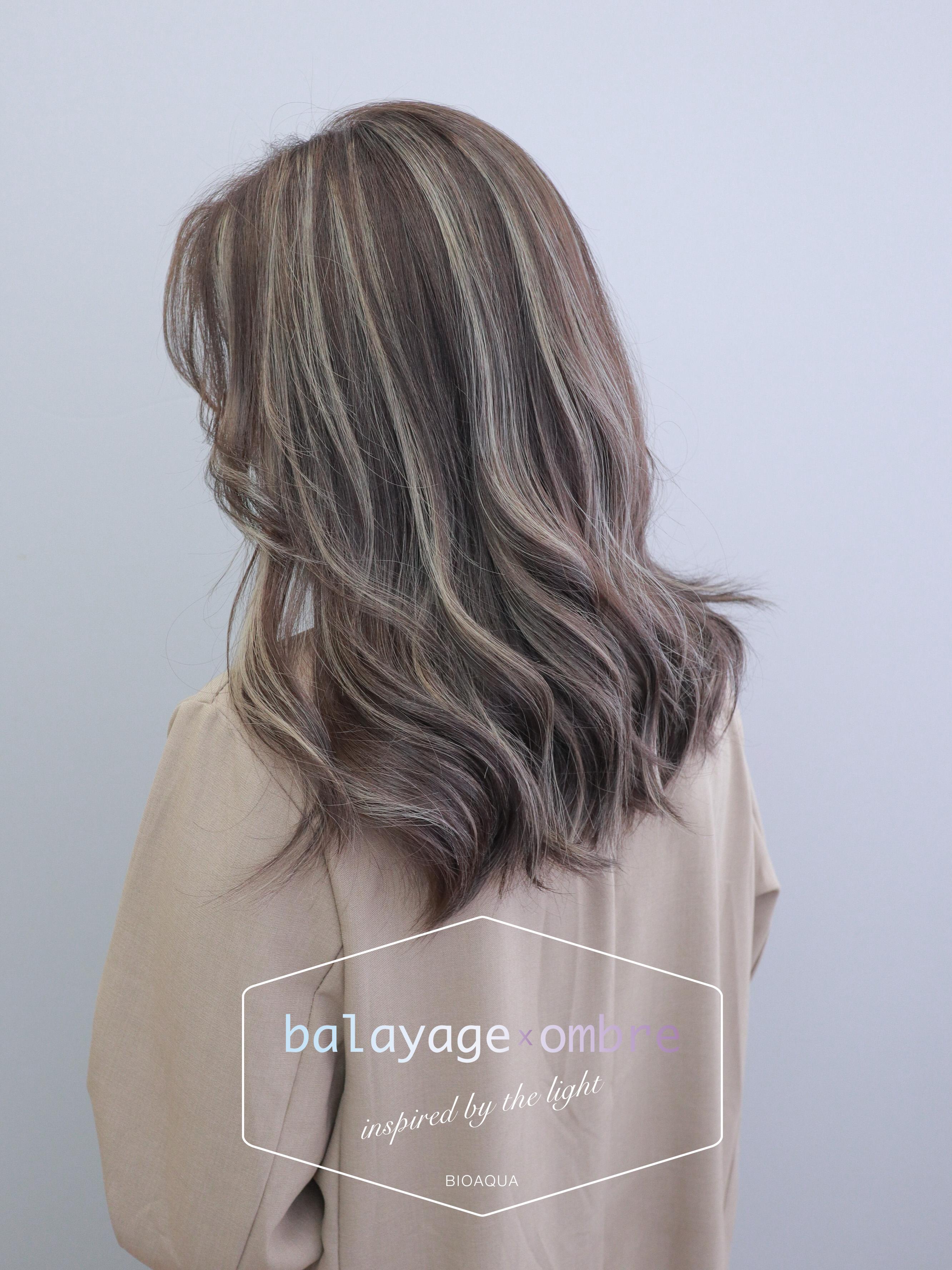 深棕色+乳灰色 歐美手刷線條染