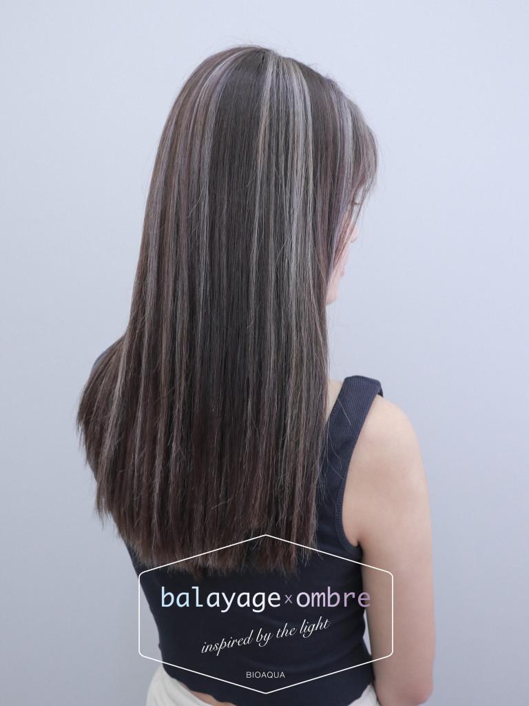 灰棕色+乳灰色 歐美手刷線條染 - 台中髮廊 剪髮染髮推薦 元氣美髮