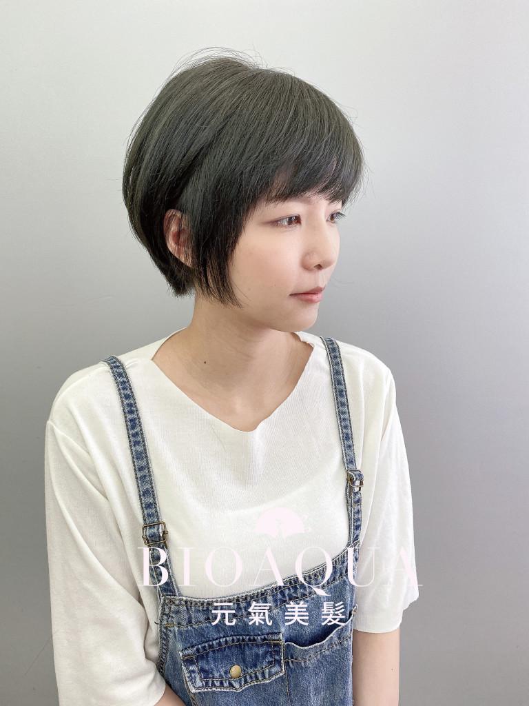 深灰綠棕色+時髦短髮 - 台中髮廊 剪髮染髮推薦 元氣美髮