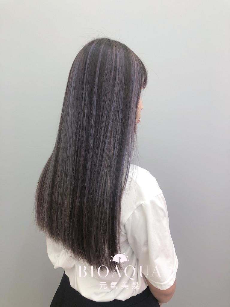 歐美染髮 紫灰色調手刷線條染 - 台中髮廊 歐美手刷染推薦 元氣美髮