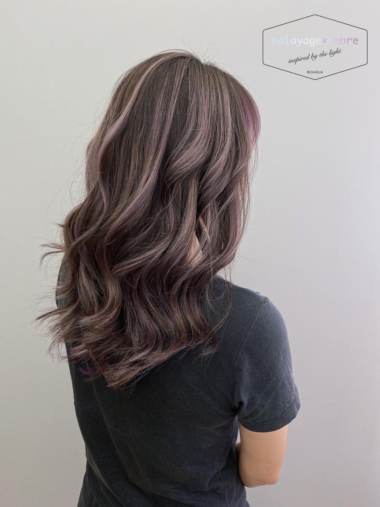 粉紫色調歐美線光染 - 台中髮廊 歐美手刷染推薦 元氣美髮