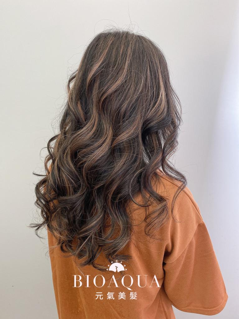 黑色+杏色 歐美線光染 - 台中髮廊 染髮髮型推薦 元氣美髮