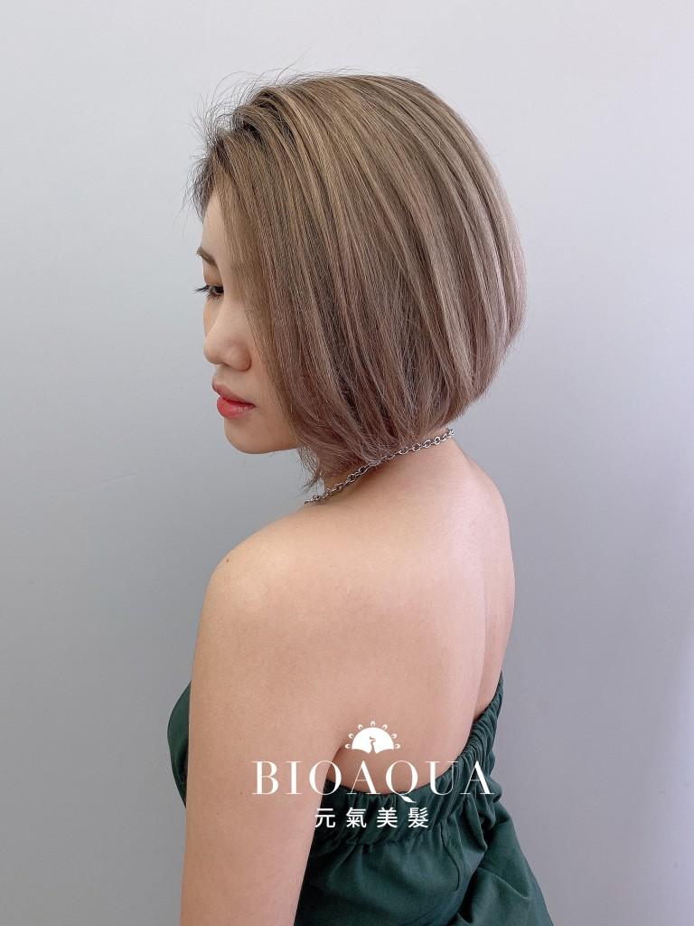 奶茶色漸層染+鮑伯頭 - 台中髮廊 漂髮染髮推薦 元氣美髮