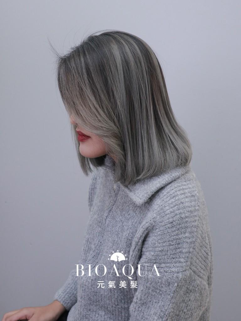 淺灰色手刷染 - 台中髮廊 歐美漸層染髮推薦 元氣美髮