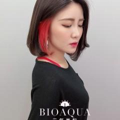 摩卡棕+紅色耳圈設計染