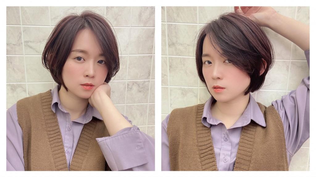 粉紫色調日系短髮