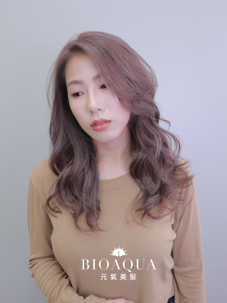 時髦髮色 奶茶灰紫色 - 台中髮廊 剪髮染髮推薦 元氣美髮